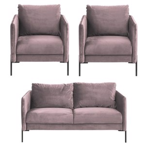 Kingsley sofa sæt - Rosa Velour - 2 pers. sofa + 2 stole.