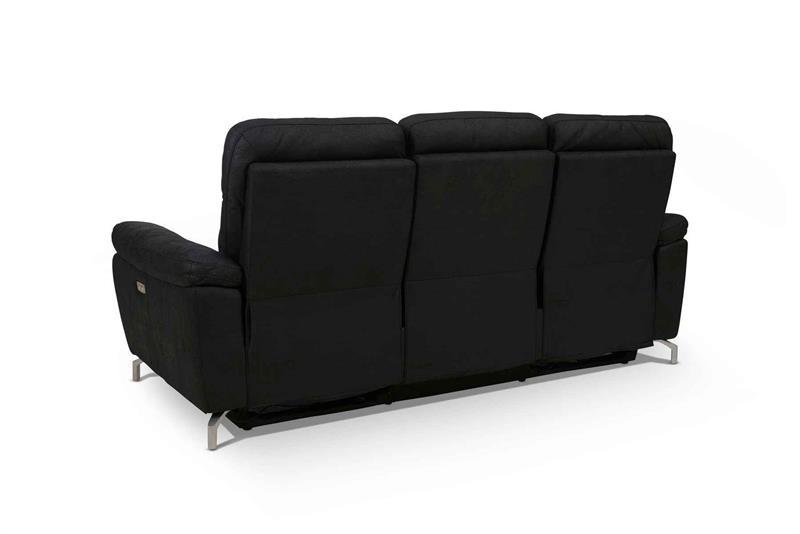 Selesta Sofa sæt Sort STOF sofa med el funktion i ryg og skammel.