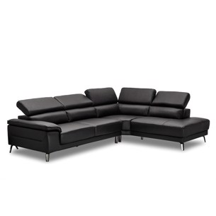 Salerno Chaiselongsofa - Sort Læder