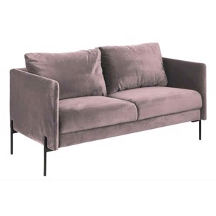 Kingsley 2-Pers. Sofa - Sort eller Rosa Velour - Sorte metalben.
