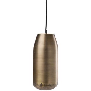Lampe m/stofledning - Slim Antik Messingfinish - 34 x ø12 cm.