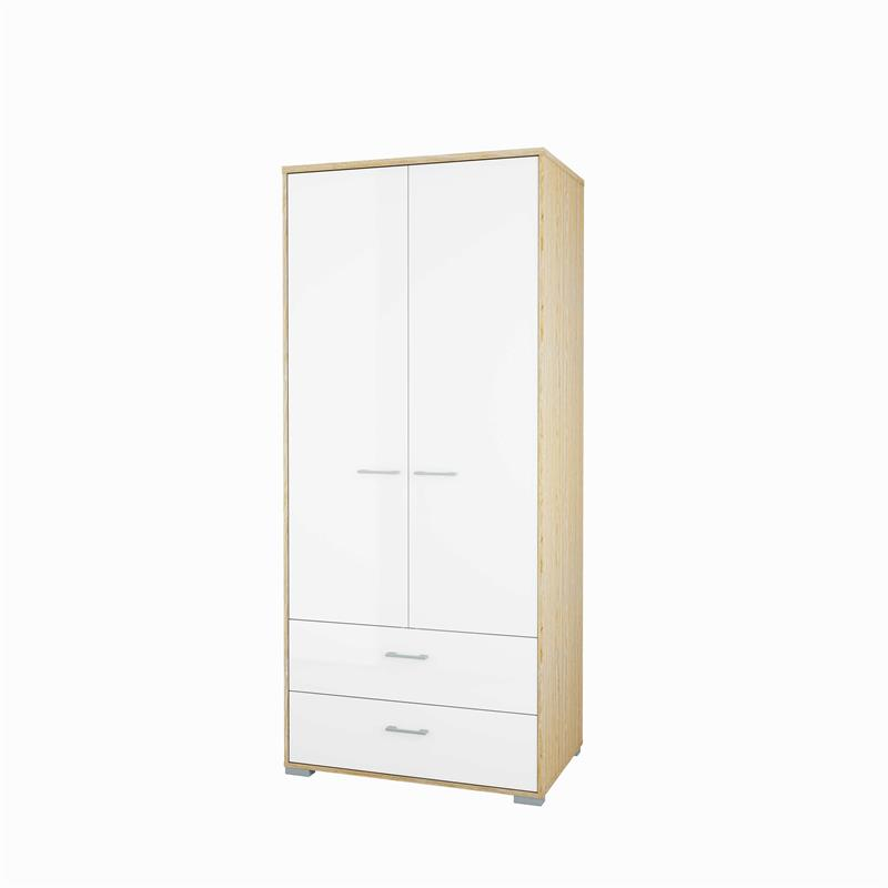 Afholte Home garderobeskab 2 dørs højglans/eg NU MED SKUFFER RK-86