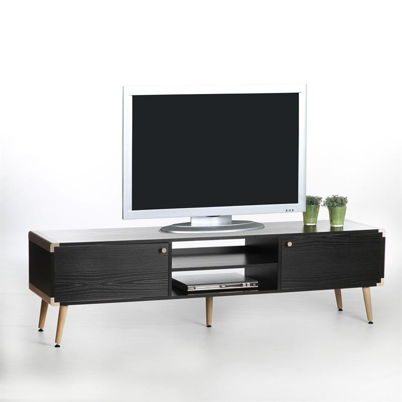 sort tv bord med egerunding. Black Bedroom Furniture Sets. Home Design Ideas